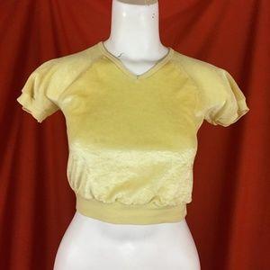 VINTAGE 70s Yellow Velvet Crop Top